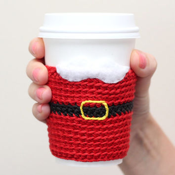 Coffee cozy/sleeve, funny coffee cup cozy, crochet santa suit cofee sleeve