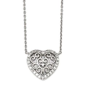 Cheryl M Sterling Silver CZ Filigree Heart 18in Necklace