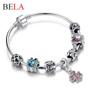 Christmas gift Silver Charm Beads Fit Original Bracelet Bangle with Butterfly&Clover Crystal Beads Friendship Bracelet PS3293