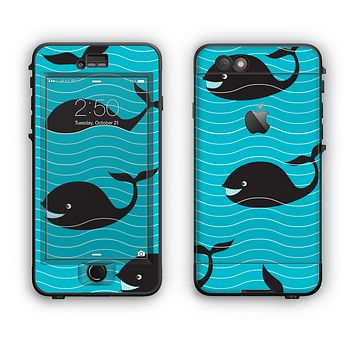 The Teal Smiling Black Whale Pattern Apple iPhone 6 Plus LifeProof Nuud Case Skin Set