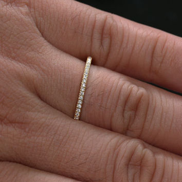 Stackable Simple And Elegant 14k Yellow Gold Diamond Wedding Band Eternity Ring Choose Color