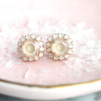 Ivory Earrings, Bridal Nude Earrings, Bridal Beige Crystal Studs, Cream Earrings, Ivory Swarovski Crystal Earrings, Bridesmaids Earrings