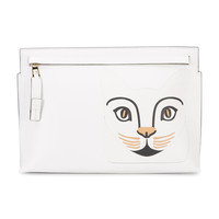 Loewe Cat Face Zip Clutch Bag - White Leather Bag