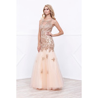 2017 Gold Tulle Trumpet Pageant gown Prom Evening Wedding Engagement Dress