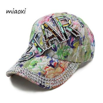 PEAPGC3 miaoxi High Quality New Fashion Women Caps Baseball Cap Star Rhinestone Floral Adult Hat Summer Sun Casual Hats Women's Snapback
