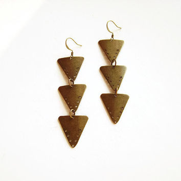 Triple triangle earrings dangle, Antique brass triangle geometric earrings, Long triangle brass drop earrings, Brass earrings triangle