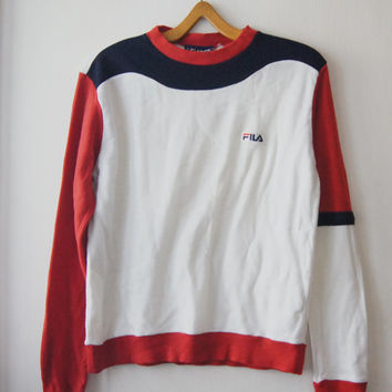 Vintage FILA Sweater 1980's blue white red sport Sweater made for karlson swiss size M - L  Retro FREE Shipping