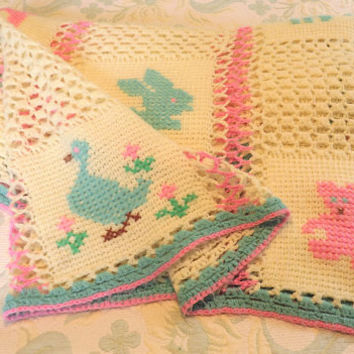 Animal Baby Blanket, Large Doll Blanket, Pink Girl or Blue Boy Baby Blanket, Handmade Crochet Vintage Baby Blanket, Rabbit Bear Cat Blanket