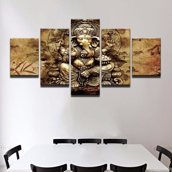 Canvas 5 Pieces India Ganesha Paintings Framed Wall Art Trunk God Pictures