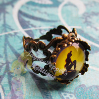 The Little Mermaid jewelry Ariel silhouette ring gothic style crown ring summer vacation fun woman teens cute winter christmas gift