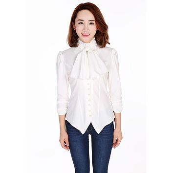 Gothic Victorian Steampunk White Ruffle Tie Neck Ruched Sleeve Blouse