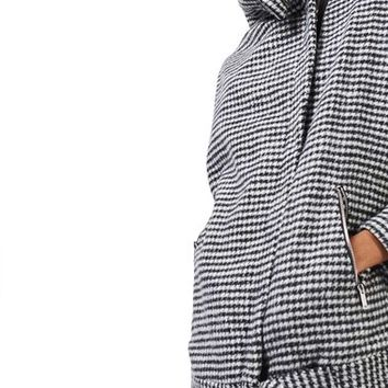 Topshop Funnel Neck Houndstooth Coat | Nordstrom