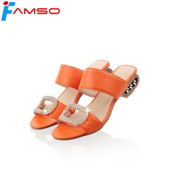 FAMSO Size34-43 2018 Shoes Women Slides Rhinestone Casual Shoes Platforms Summer Women's Yellow orange Slipper Sandals PS2575