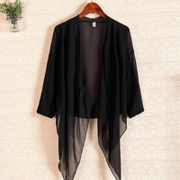 Black Long Sleeve Chiffon Cover Up