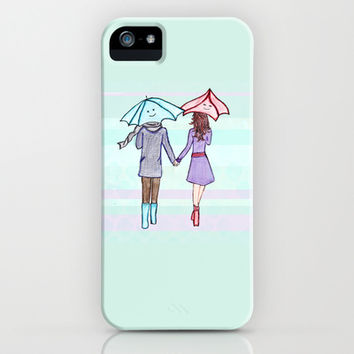 When You Are By My Side - Sweet Illustration of a Couple Walking With Umbrellas iPhone & iPod Case by Tangerine-Tane