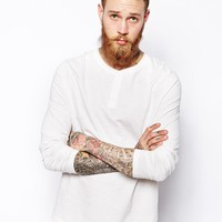ASOS Long Sleeve Grandad In Textured Fabric - Off white