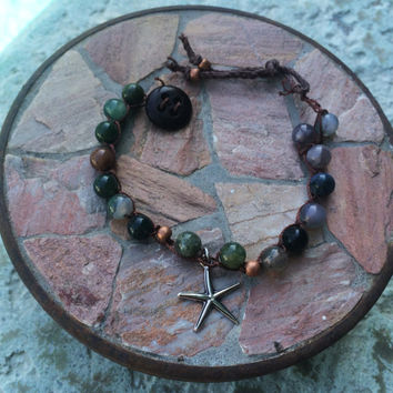 Jasper Bead Crochet Bracelet with Starfish Charm Green, Brown, Blue, Gemstone Earth-tone Boho bangle