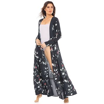 Revel Rey Poplin Navy Audrey Maxi Duster Cover-Up