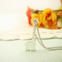 Women's Giraffe Pendant Necklace Sterling Silver Chain Animal Necklace