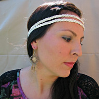 Braided leather Indie Hipster Headband, White Suede Leather, Double Braid Headband