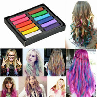Fashion 12 Colors Non-toxic Soft Hair Crayons Pastel Kit Temporary Chalk Dye Personalized Beauty Hair Color for DIY Hair Style