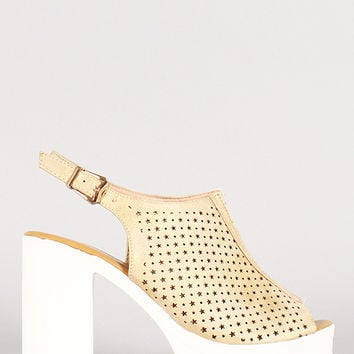 Perforated Metallic Stars And Circles Slingback Lug Sole Heel
