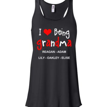 "Personalized ""I love being GRANDMA"" Apparel - Replace ""Reagan - Adam - Lily - Oakley - Elise"" With Your Names"