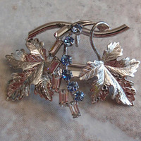 Maple Leaves Pendant Brooch Rhinestones Blue Clear Carl-Art Lightweight Vintage 111314WH