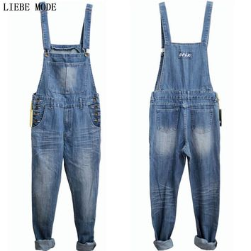 Adult One Piece Denim Jumpsuit Men Overalls Jumpsuit Bib Pants Suspender Jeans Long Pants Dark Blue Light Blue Big Size S-5XL