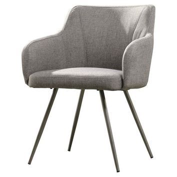 Gray Upholstered Mid-Century Polyester Low Back Armchair Steel Legs