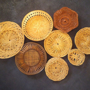 Vintage set of 8 Woven Rattan Baskets ~ Tribal wall Grouping ~ Jungalow ~ BOHO ~ Bohemian