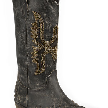 Roper Ladies Fashion Snip Toe Boots Brown Sanded Leather With Beaded Eagle