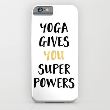 YOGA GIVES YOU SUPERPOWERS iPhone & iPod Case by deificus Art