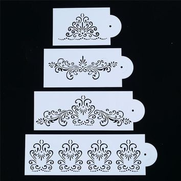 4Pcs Lace Border Princess Crown Flower Reusable Stencil Airbrush Painting Art DIY Home Decor Scrap Album Crafts Paper Cards
