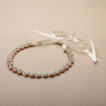 Rose Gold Bridal Headband with Genuine Preciosa Crystals