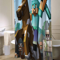 Minecraft Mine Craft Game 2 custom shower curtain for bathroom ideas