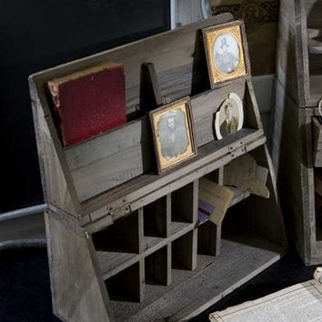 Vintage Recycled Wood Folding Desk Caddy
