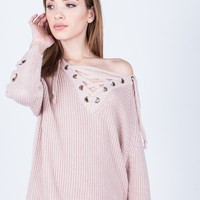 Lace Me Up Sweater Dress