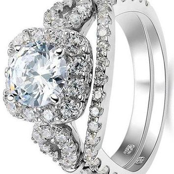 2.2CT Round Cut White Cz 925 Sterling Silver Wedding Engagement Ring Set Bridal