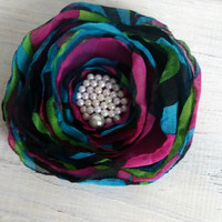 Large multi-colored flower brooch 9,5 cm sewn from chiffon Handmade brooch Flower brooch Fashion accessory Flower Gift for her Gift for mom