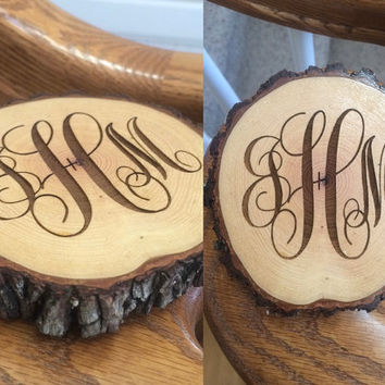 Custom Rustic Wood Slice Coasters, Monogram Wood Coasters, Engraved Wood Coasters, Personalized Coasters, Wedding Gift, Housewarming Gift