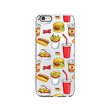Food Pattern Hamburger Transparent Silicone Plastic Phone Case for iphone 6 _ LOKIshop (iphone 6)