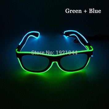 New 100pcs Steady On Double color Glasses EL Wire Powered By DC-3V Cold Light Tube Rope Flexible Neon Discos Party Decor