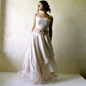 Wedding skirt, Boho skirt, Silk skirt, Long skirt, Hippie wedding skirt, fairy skirt, Asymmetrical skirt, tutu, Tulle skirt, Ivory skirt