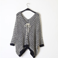 Loose hollow V neckline line hybrid woven bat sweater
