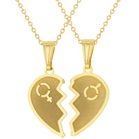 """18k Gold Plated Split Heart Necklace for Couples Pendant Love 19"""""""