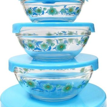 5pc. Glass Bowl with blue lids and blue flowers - CASE OF 12