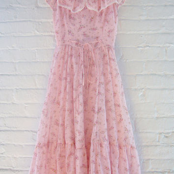 70s Prom Dress Vintage Pink Floral Dress Small Spring Fashion Full Skirt Ruffle Boho Pastel Romantic Wedding Garden Party Ballerina Dress