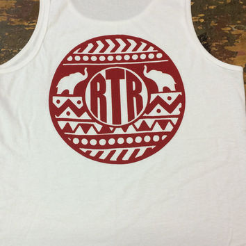 Alabama Crimson Tide Navajo Pattern With RTR Elephant Monogram Tank Top