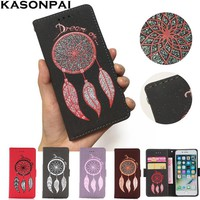 KASONPAI PU Leather Case For iPhone 7 Luxury Dream Catcher Glitter Leather Cover Wallet Flip Phone Case For iPhone 6 6S 7Plus 5S